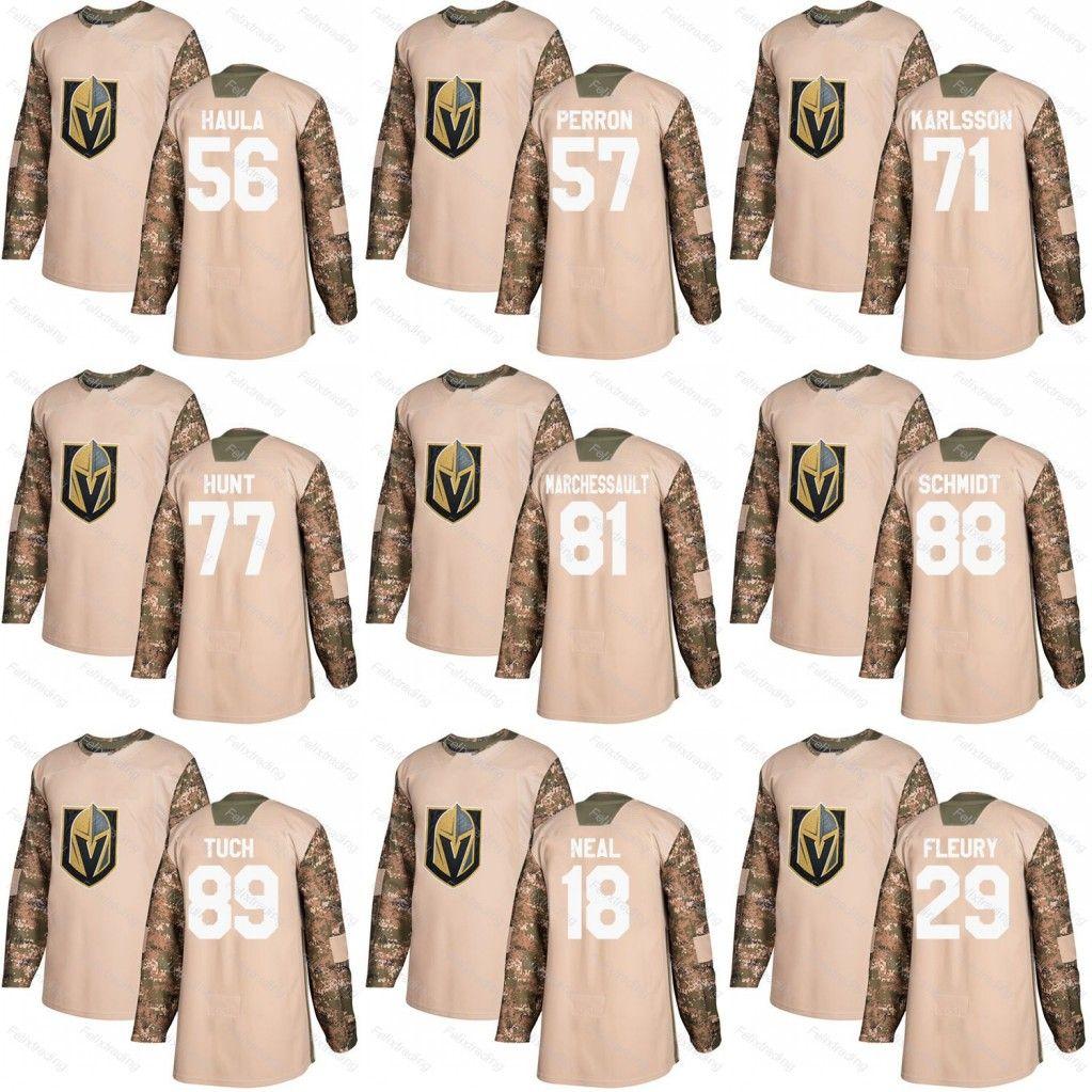 the latest b5811 bb45b Vegas Golden Knights Erik Haula David Perron William Karlsson Tuch Hunt  Jonathan Marchessault Nate Schmidt 2017 Camo Veterans Day Jersey