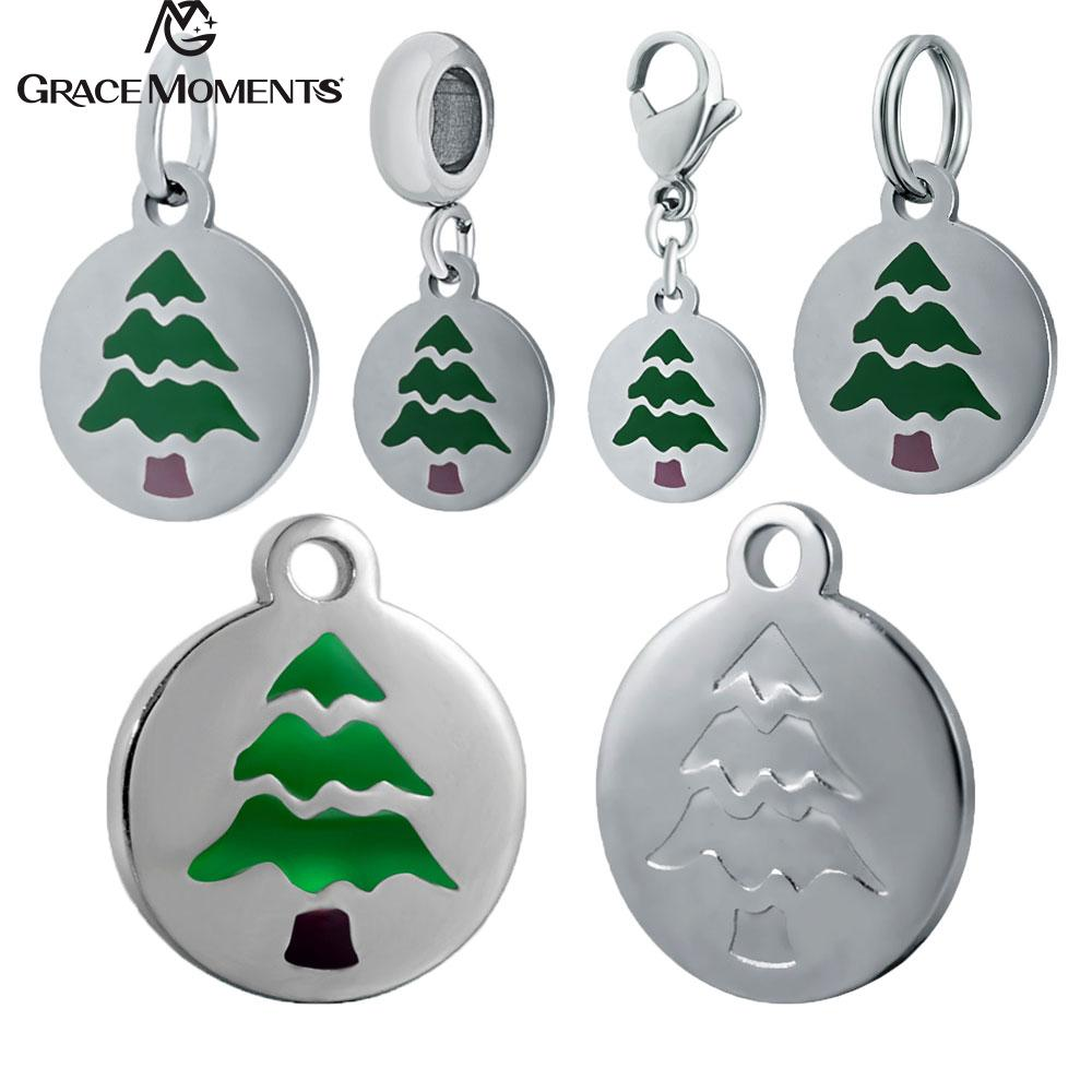 10pcs/Lot 316L Stainless Steel Charms Accessories DIY Emoticon Charm  Christmas Tree Emoji Charms for Necklace Jewelry Making