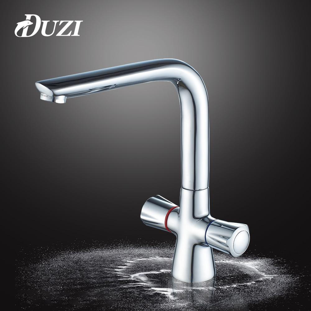 2018 Duzi Chrome Kitchen Faucets Deck Mounted Mixer Tap 360 Degree ...