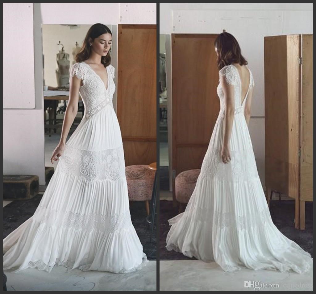 ddd3d435ace Discount 2019 New Lihi Hod Country Backless Wedding Dresses V Neck Short  Sleeve Lace Applique Bridal Gowns Plus Size Hot Sale Wedding Dress 2018  Short ...