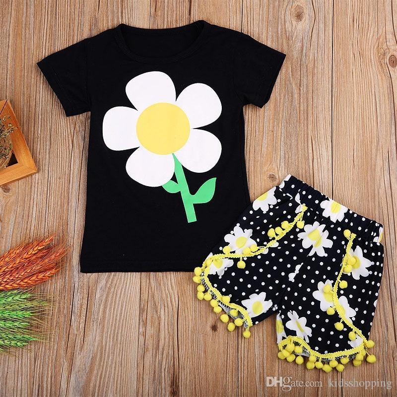 2656236dc Compre Moda Bebê Crianças Meninas Roupas T Shirt Tops Shorts Casual Roupas  Set De Kidsshopping