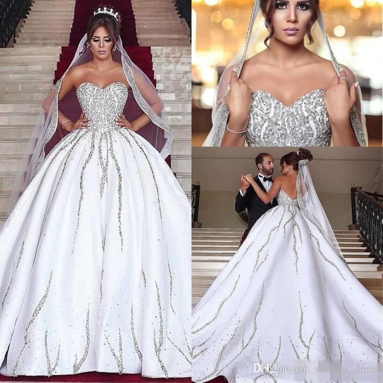 Luxury Design White Wedding Dresses With Crystals Sweetheart Satin ...