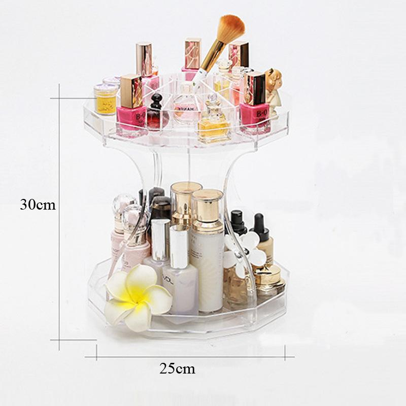 2018 Clear Acrylic 360 Rotating Makeup Organizer Dress Table Storage Shelf Desk Accessories Jewelry Bo Lip Rack From Igarden001
