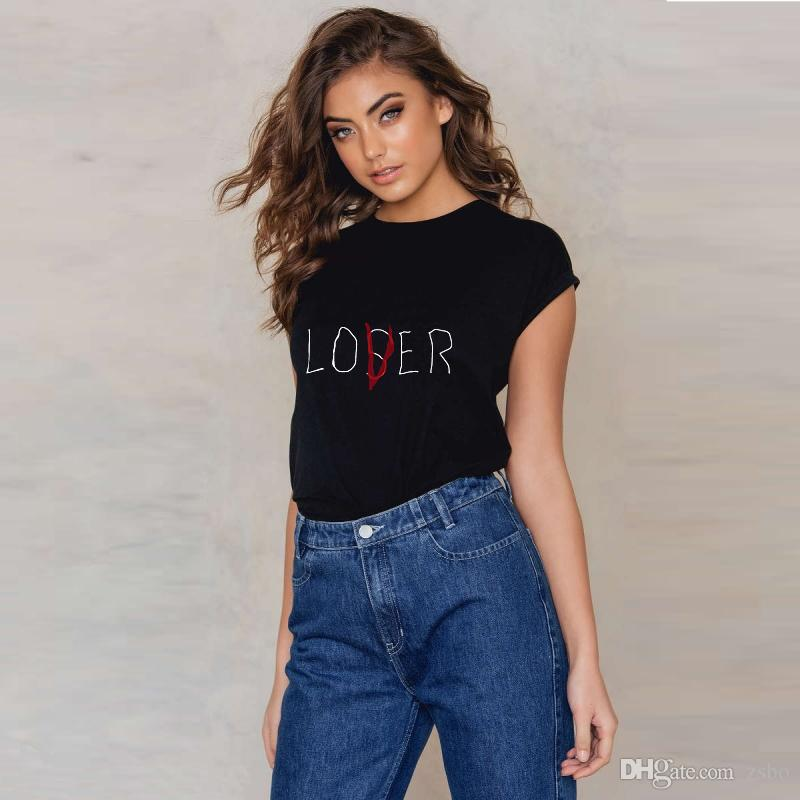 Summer 2018 Chiffon High Quality Custom Printed goth Women female Casual Short Sleeve Loser Lover It Inspired O-Neck Tops Plus Size NV96RF