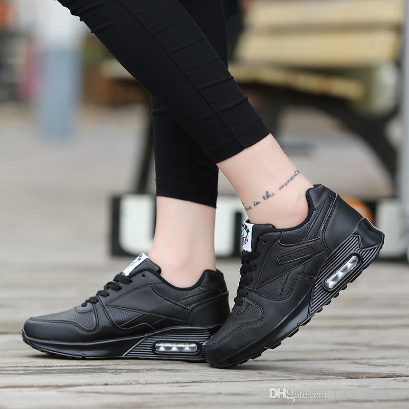 Acheter Chaussures Femmes 2018 Mode Pu Printemps En Cuir Casual Chaussures  Chaussures De Marche En Plein Air Femme Appartements À Lacets Femmes  Sneakers ... d5055f7fb40