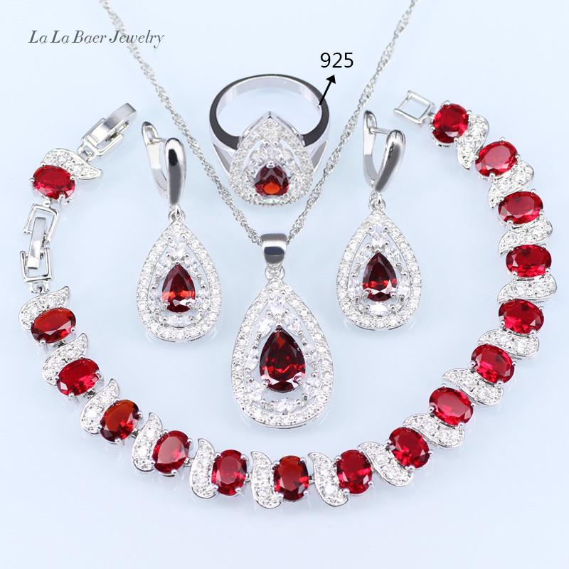 2b790220dcac Compre LB Drop Silver 925 Red Garnet White Zircon Juegos De Joyería Para  Mujer Pulseras   Pendientes   Colgante   Collar Cadena   Anillo S18101607 A   23.25 ...