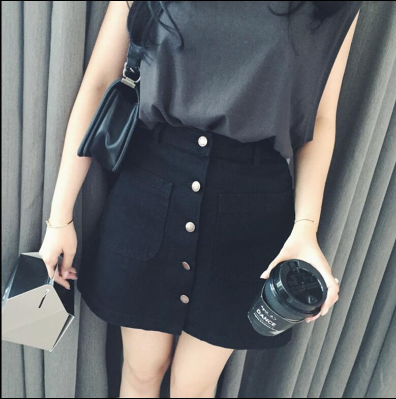 74d16b3e4 2019 New Summer Womens Ladies A Line Pencil Jeans Skirt Front Button High  Waist Denim Small Pockets Skirt Black White Harajuku From Cailey, $20.21 |  DHgate.