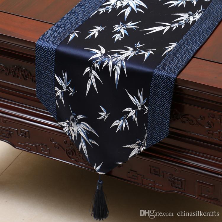 230x33 cm Uzun Bambu Çin İpek Brokar Masa Koşucu Dekoratif Düğün Yemeği Parti Zarif Masa Örtüsü Şam Yemek Masa Mat