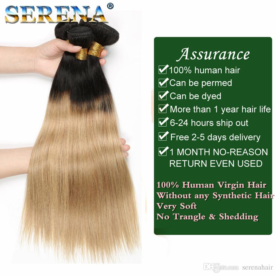Grade 9A Brazilian Straight Ombre Human Hair Extensions #1B 27 Honey Blonde Dark Roots Ombre Brazilian Human Hair Weave Bundles