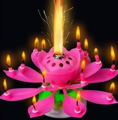 2019 Musical Birthday Candle Magic Lotus Flower Candles Blossom Rotating Spin Party 14Small 2layers Cake Topper Gift From Taylor001