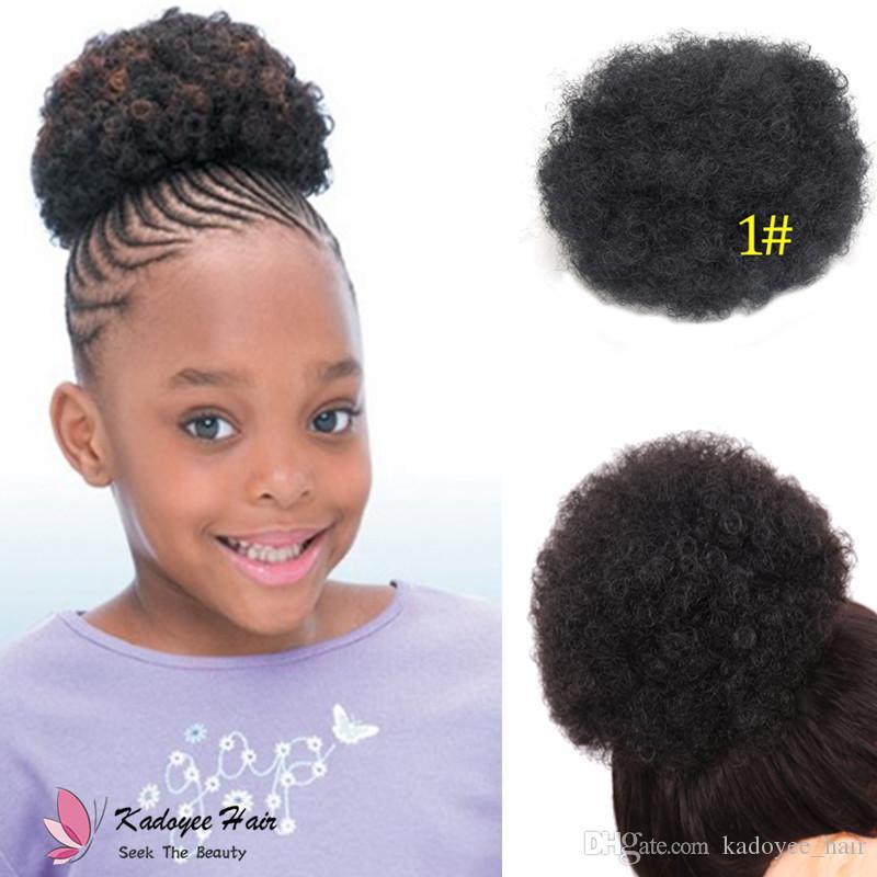 Synthetic Afro Chignon For Kids Small Children Girl Jumbo Kinky