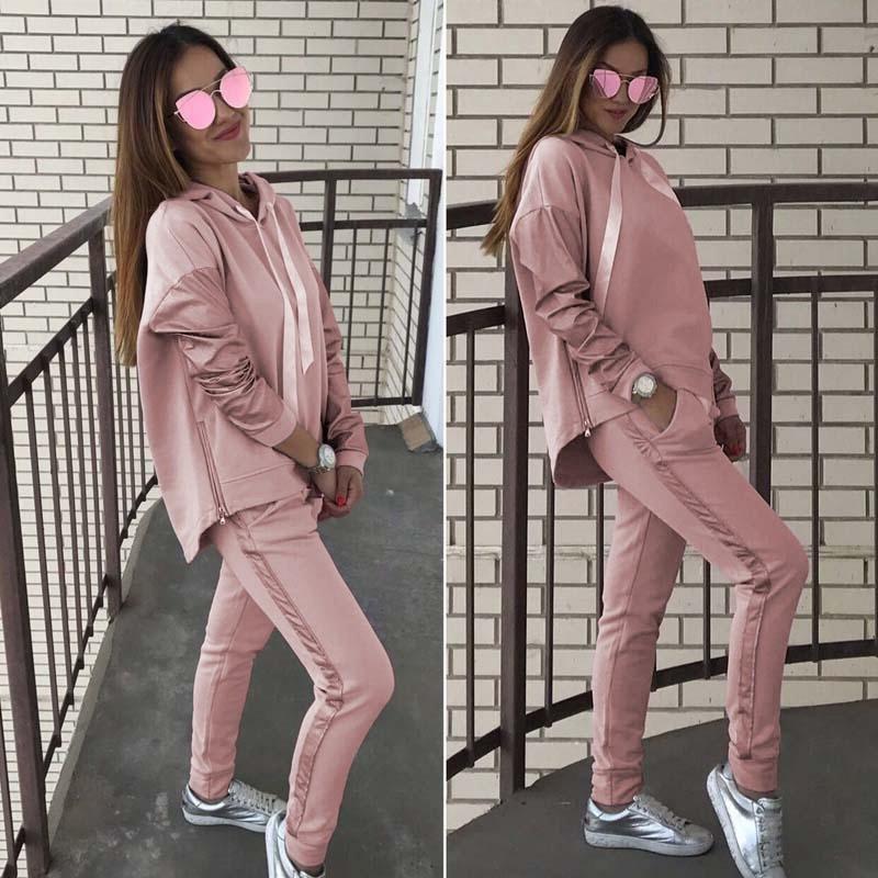 7b87deb1369f Compre Bkld Mulheres Treino De Duas Peças Terno Outono Inverno Casual Manga  Comprida Camisola Hoodies + Calças Compridas Set 2018 Moda Rosa Outfits ...