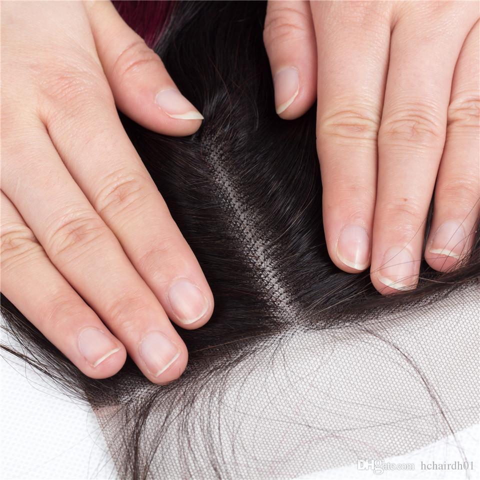 Moda Kız Ombre Brezilyalı Saç Dantel Kapatma ile 3 Demetleri 1b / 99j Vücut Dalga İnsan Saç Demetleri Iki Ton Ombre Brezilyalı İnsan Saç Vücut