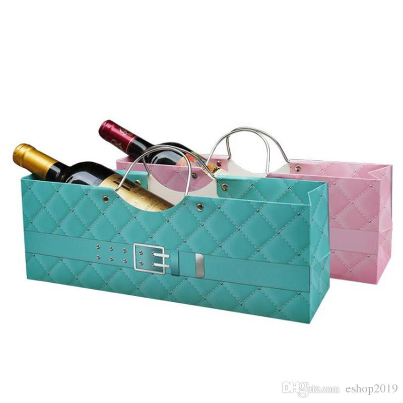 35.5*9*12.5cm One Bottle Red Wine Paper Packing Storage Bag Event Party Package Carrier Paper Bag With Handle