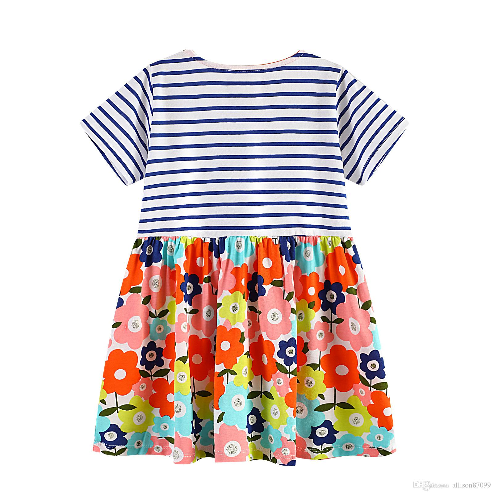 2019 Boutique European and America style Floral Dress for girl Striped Short sleeve Flowers Print 100% cotton Wholesale Kids clothing 18M-6T