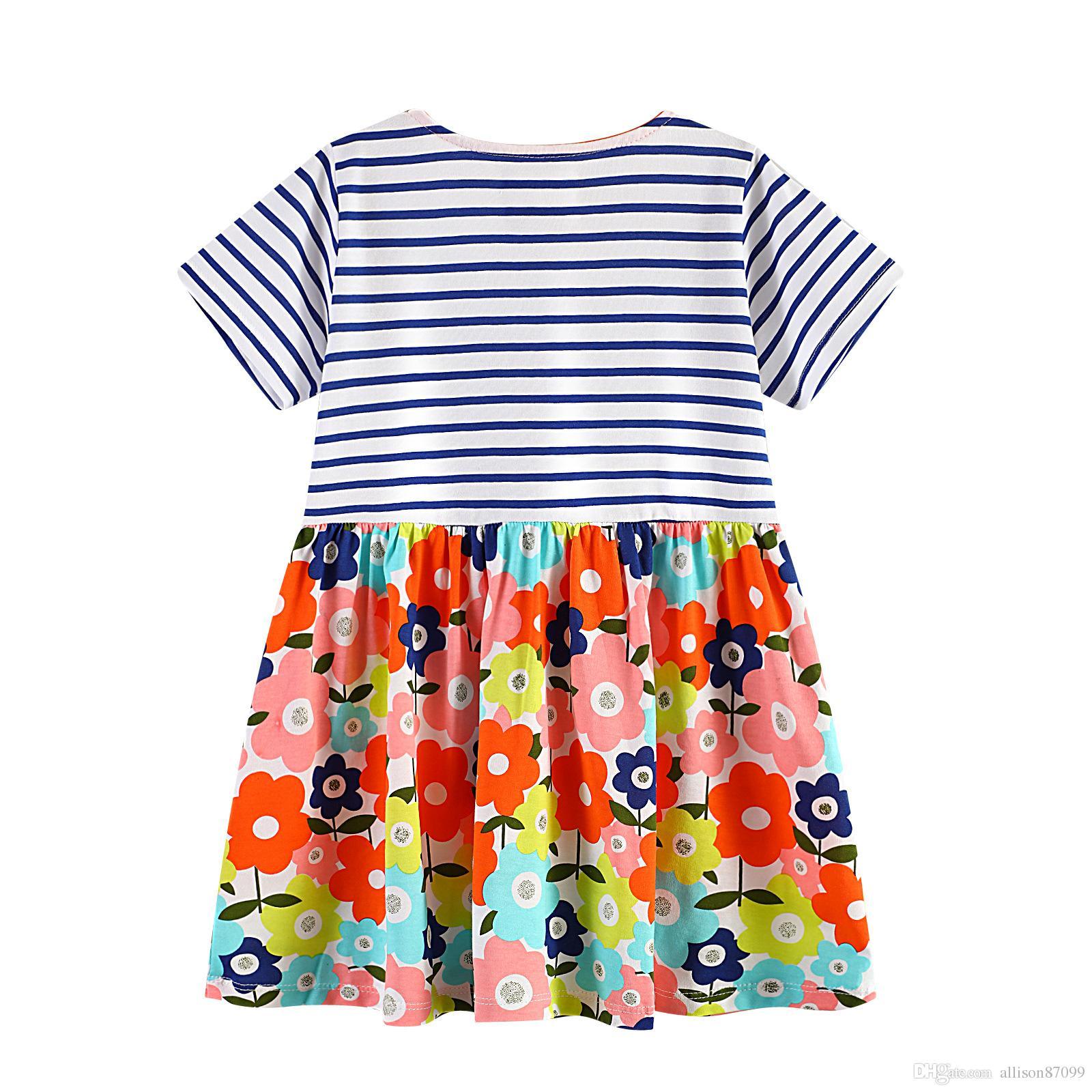 2019 boutique europeu e américa estilo floral dress para menina listrado manga curta flores de impressão 100% algodão por atacado roupas de crianças 18m-6t