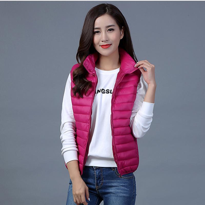 Plus Size 4XL2017 Hot Sale Women Warm Vests Ultra Light Down Sleeveless Jacket Gilet chalecos mujer Women Vest Waistcoat Jacket