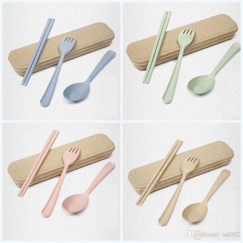 Portable Camping Tableware Exquisite Eco Friendly Dinnerware Sets Natural Spoon Fork Chopsticks Creative Colorful Wheat Straw Set 2 6mh jj