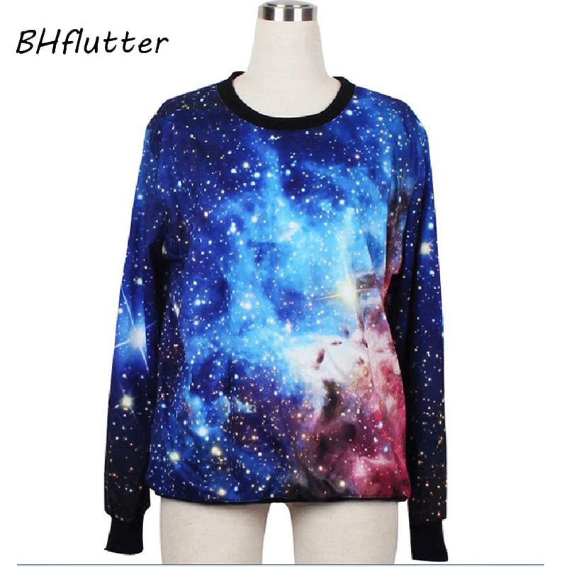 5e6a506e2946 2019 BHflutter Women Hoodies Cosmic Blue Sweatshirts Galaxy Space 3D  Printed Moleton Long Sleeve Loose Casual Pullovers From Caeley