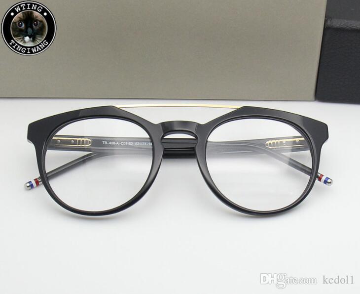 d0bc741217165 Compre 2019 Marca De Luxo Thom Homens Mulheres Óculos De Armação Retro  Rodada Espetáculo Transparente Óculos Frames De Luxo Feminino Masculino  Azul Eyewear ...