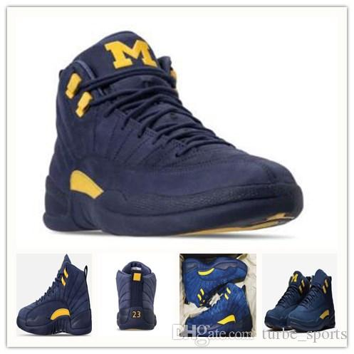 6ca197d3fd5e27 with Box 2018 New 12 Michigan Mens Basketball Shoes 12s Dark Grey ...