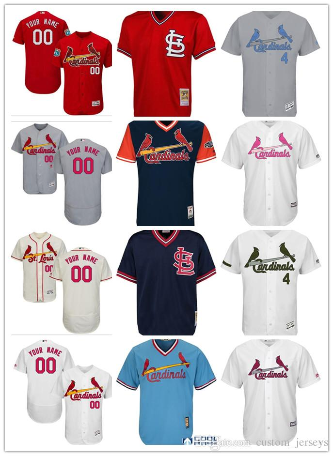 a7773e54 custom Men women youth Majestic S.L Cardinals Jersey #00 Any Your name and  your number Home Red Grey White Kids Girls Baseball Jerseys