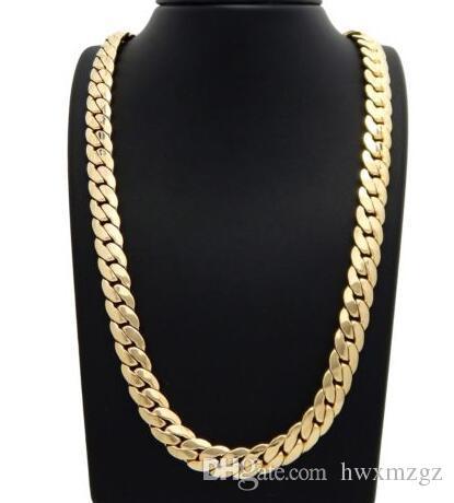 c2c249a04b425 Mens Miami Cuban link Chain 12mm 14k Gold Plated 24 Bracelet Necklace