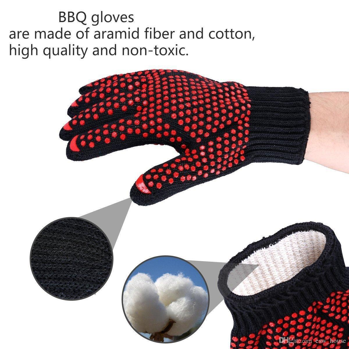 new Oven Mitts Gloves high Centigrade Instant Extreme Heat Resistant BBQ Gloves Lining Cotton Cooking Baking Grilling Oven Mitts