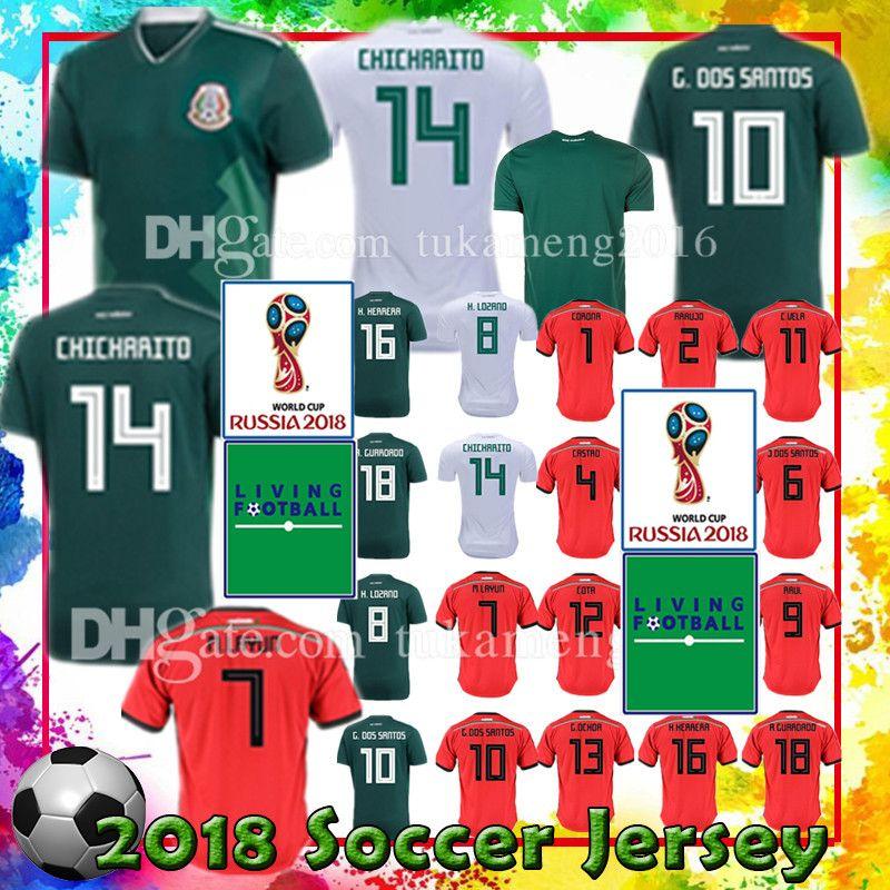79cd9248d 2019 Women Men Mexico 14 CHICHARITO 8 H. LOZANO Soccer Jersey 10 G. DOS  SANTOS 4 R. MARQUEZ 18 A. GUARDADO 7 M. LAYUN R.JIMENEZ Football Uniforms  From ...