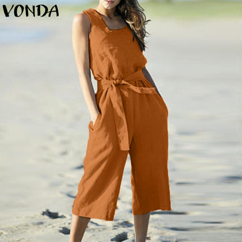 03b8d480e4c 2019 VONDA Rompers Womens Jumpsuit Summer Cotton Vintage Sleeveless Belt  Wide Leg Pants Playsuit Casual LooseOveralls Plus Size From Cardigun