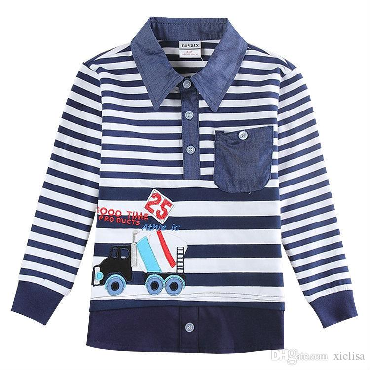 2017 Baby Boys Clothes t shirts Kids Tees Boys Winter top tees Fashion 2-6 Years Turn-down Collar Shirts for boys