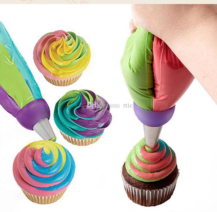 Cupcake Decorating Mouth Three Color Coupler Russia Piping Mouth Converter Food-grade Plastic Baking Supplies