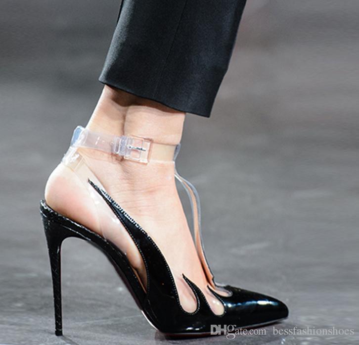 54b833def7d New Spring Women PVC Straps High Heels Sandals Cut Outs Women Cat Walk Sandals  Shoes Party Women Dress Shoes Roman Female Sandalias Mujers Sandals For Men  ...