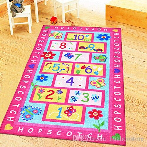 Pink Kids Rug With Hopscotch Game Baby Crawling Mat Girls