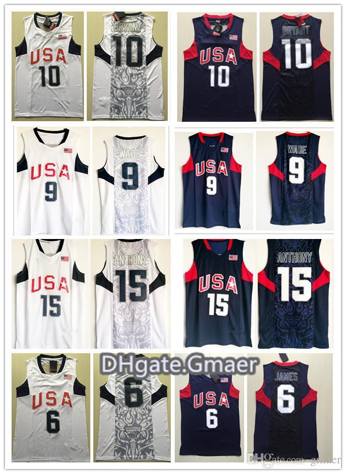 edb54f77167 NCAA Wholesale 2008 Olympics Dream Team  6 LeBron James Jersey  10 Bryant 8   Dwyane Wade Shirt 15 Carmelo Anthony Basketball Jerseys
