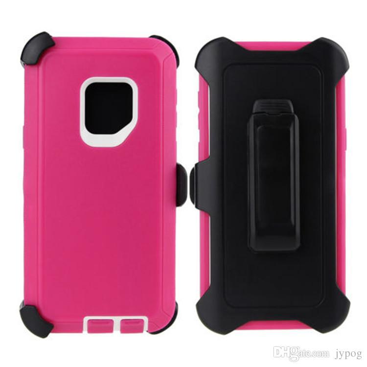 Para Samsung S9 Defender Case 3in1 Fundas de teléfono resistentes y de alto impacto con clip giratorio para Samsung S9 S9 Plus