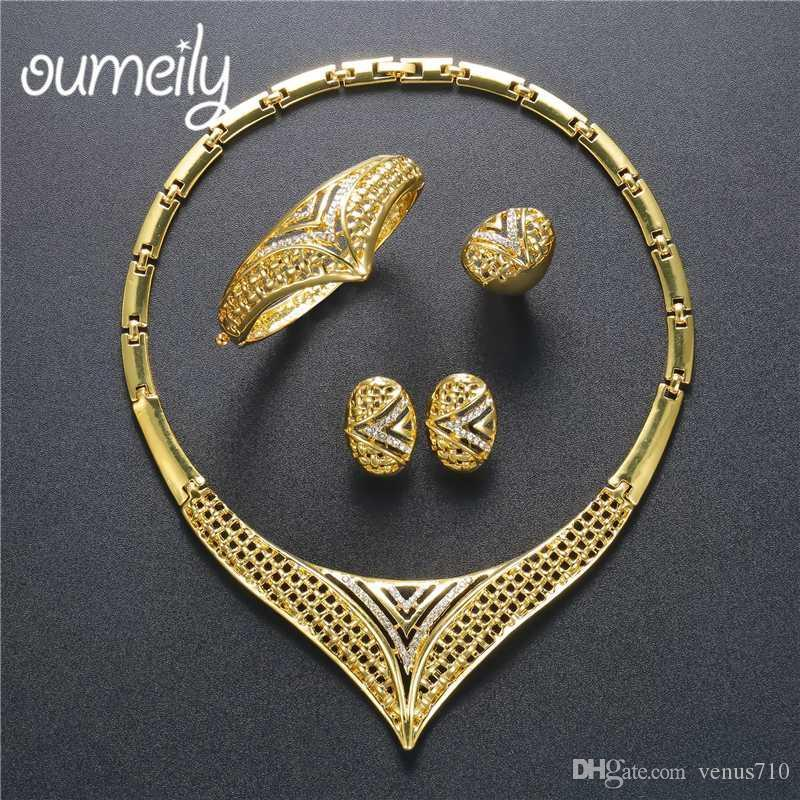 OUMEILY Turkish Vintage Women Wedding Costume Jewelry Sets Dubai African  Jewelry Sets Big Nigerian Silver/ Gold Color Jewellery