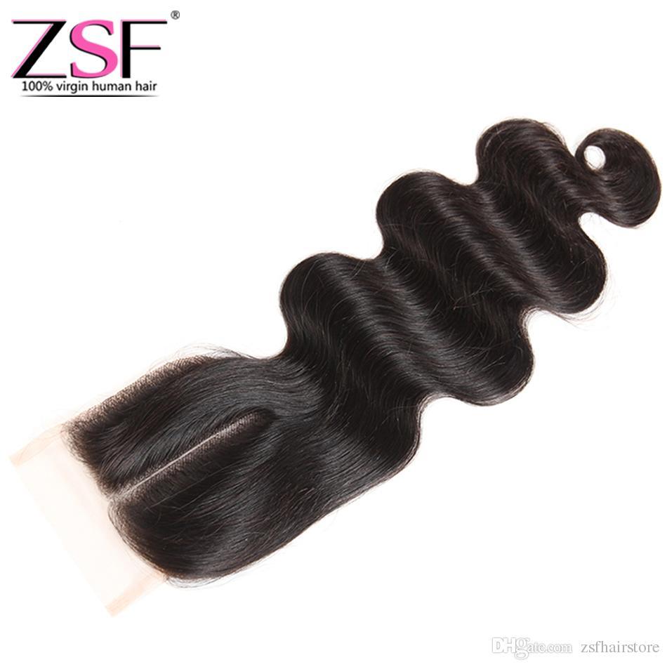 ZSF 100% Необработанные Бразильские Волосы Девственницы Закрытие Объемной Волны Наращивание Человеческих Волос 1 Шт. 4 * 4 Кружева Закрытие Бразильское Закрытие Человеческих Волос