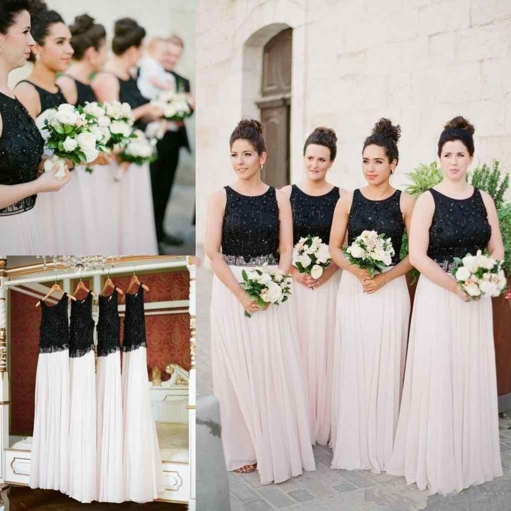 9b523a076f69a 2018 Black Top White Skirt Bridesmaid Dresses Chiffon Floor Length Long  Maid Of Honor Newest Arrival Flow Wedding Guest Dresses Chiffon Bridesmaid  Dresses ...