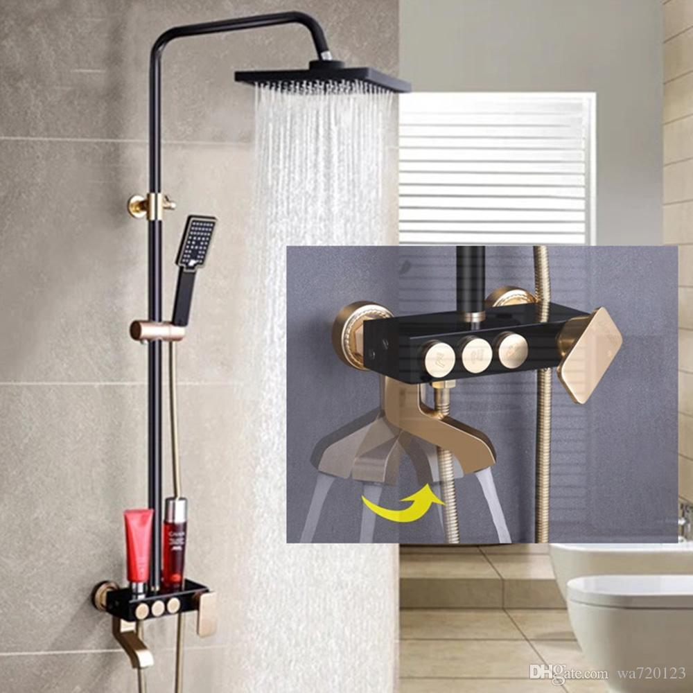 Wall Mounted Black /Gold Color Exposed Bath And Shower Solid Brass ...