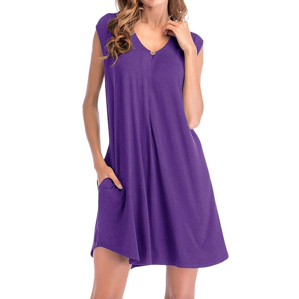 48aab7d070 Summer Dress 2019 Women'S Pockets Loose Swing T Shirt Sleeveless Dressess  Ladies V Neck Solid Dress Women Clothing Vestidos Party Dresses Blue  Teenage ...