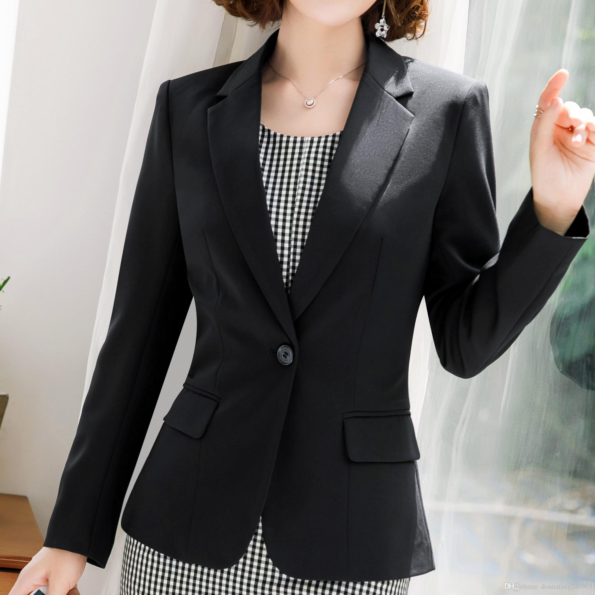 d8ac4b7a1b6ae 2019 Fashion Plaid Dress Suits Women 2019 New Business Interview Long Sleeve  Blazer And Sleeveless Dress Office Ladies Plus Size Work Wear From ...