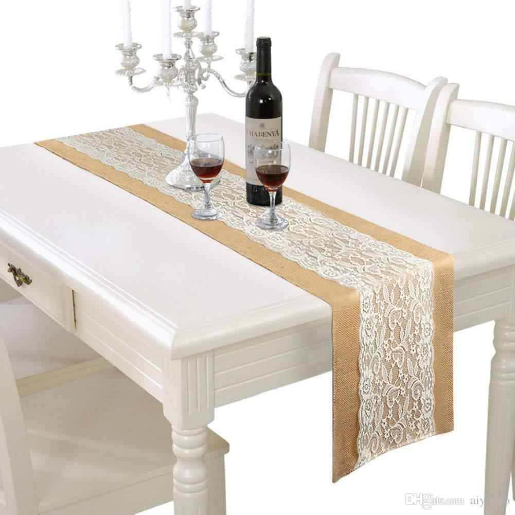 Burlap Lace Hessian Table Runner Rustic Natural Jute Country Wedding ...