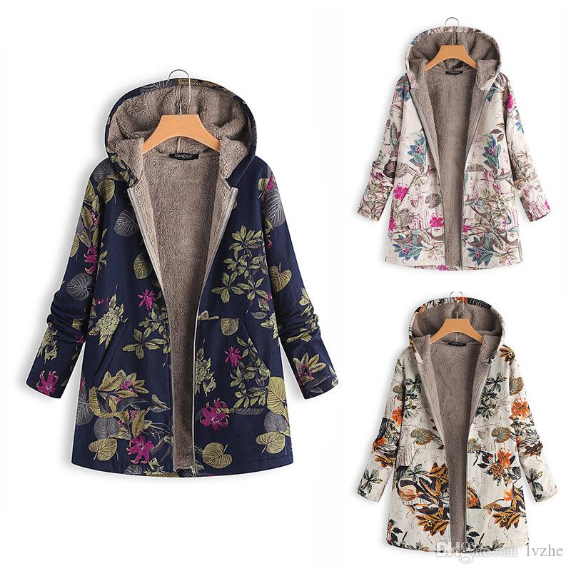 4fddf648896 2019 New Winter Warm Womens Ladies Long Sleeve Floral Printed Hoodie Hooded  Jacket Coat Outwear Plus Size Jacket Coat Outwear Online with  27.41 Piece  on ...