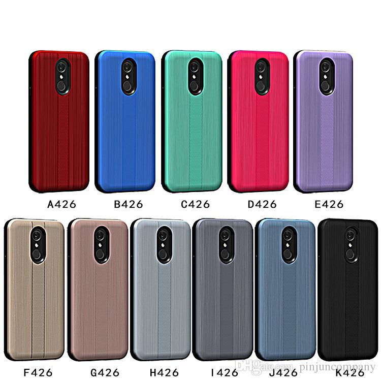 innovative design 2dc22 3da41 For LG Q7 PLUS Metropcs Hybrid Armor case Brushed Carbon fiber Case For LG  Q7 Metropcs phone case