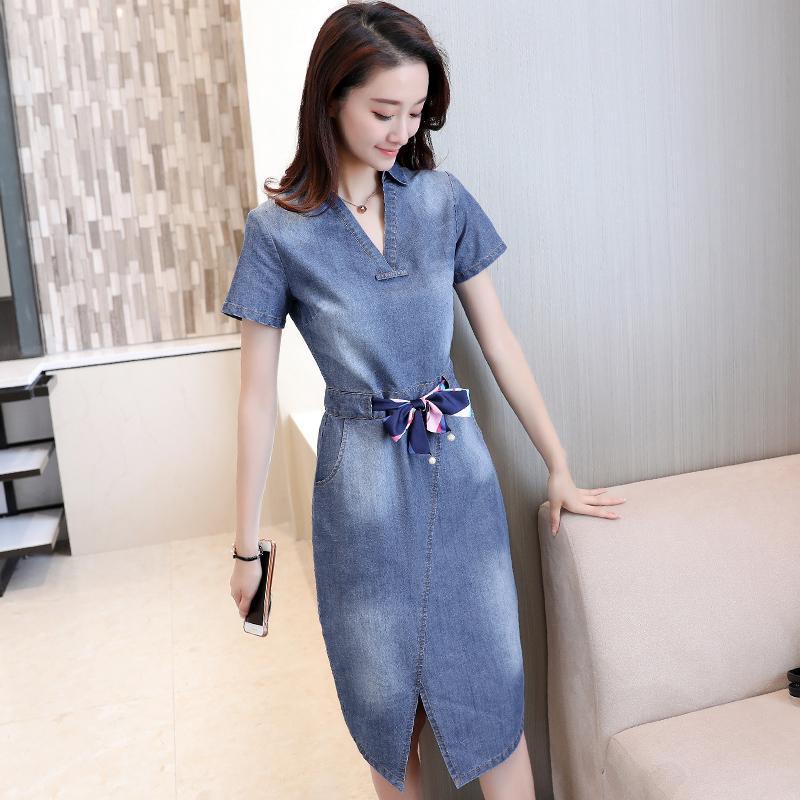 b1cb3d8682b 2019 2018 New Summer Denim Dress Women Loose Fashion Jean Dress V Neck Slim  Short Sleeve With Belt Plus Size 1984 From Edmund02, $38.2 | DHgate.Com