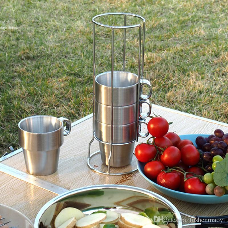4 Stück Set Handgriff Tassen Outdoor Camping Tassen Vakuum Doppelwand 304 Edelstahl Tassen Kaffeetassen mit Halterung und Mesh Aufbewahrungstasche