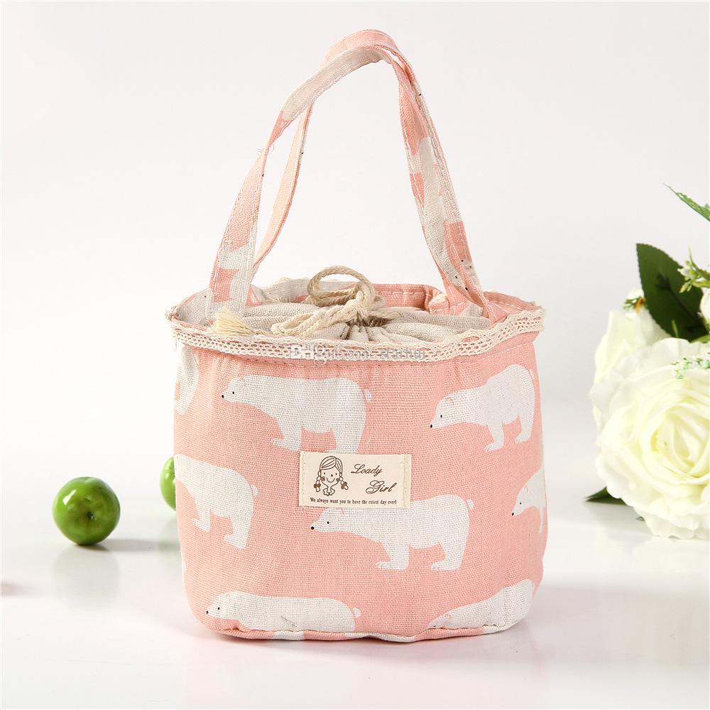 Creativity Portable Bear Flamingo Insulated Drawing String Lunch Bag Cartoon Animal Picnic Pouch Bag Thermal Food Lunch Box Bag WX9-413