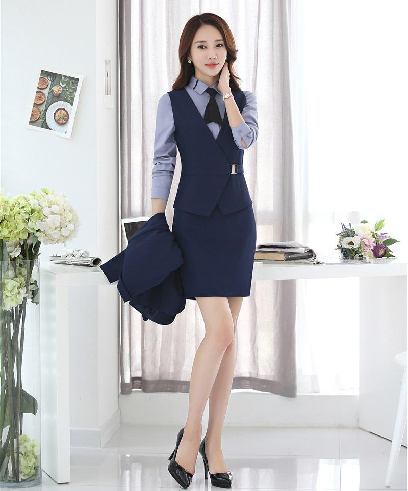 online store 51c5c c4089 Gilet blu scuro Abito da donna per donna, completo di gonna e top da donna.  Uniformi da lavoro da donna