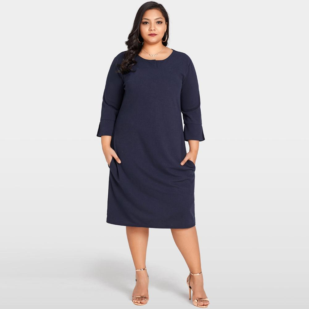 4bd83120f94 Women Plus Size Dress 3 4 Sleeves Pockets Solid Casual Loose Autumn Dress  Elegant Party Dresses Large Sizes Vestidos Dark Blue Light Purple Dresses  For ...